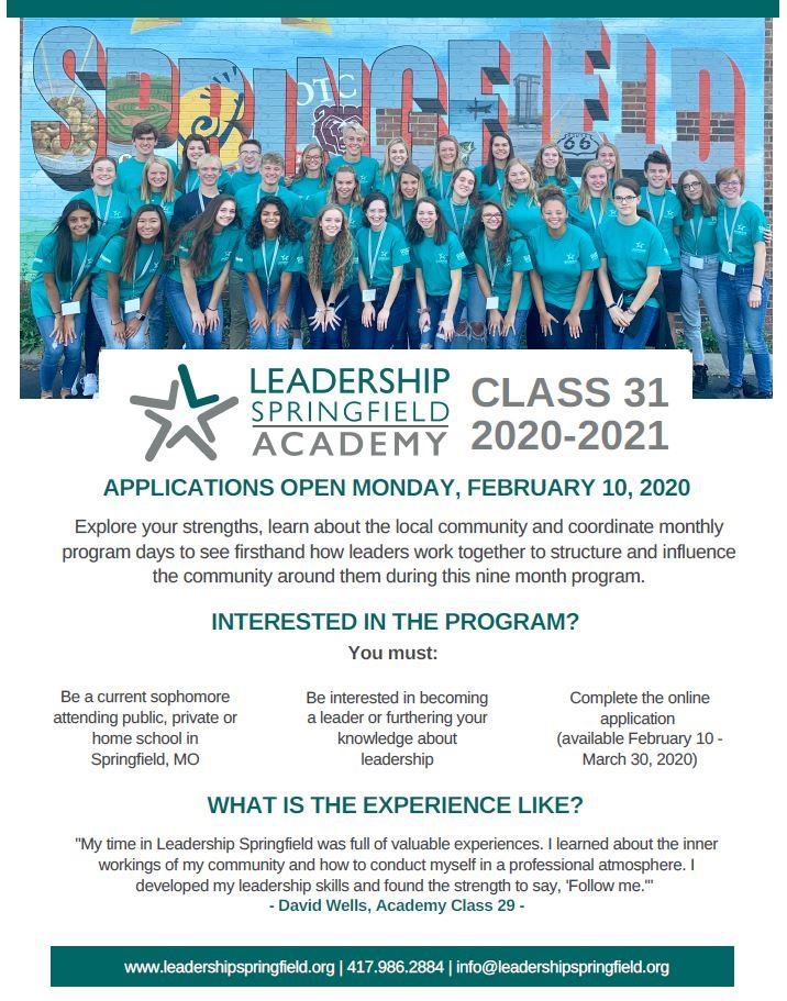Apply Sophomores to Leadership Springfield Academy-Click Here