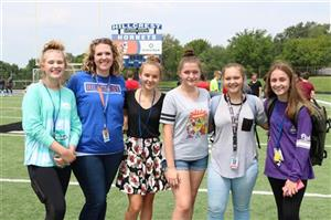Hillcrest students and teacher at Freshman Academy event