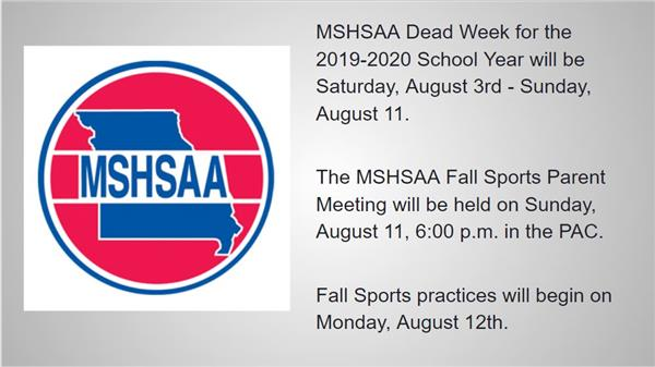 MSHSAA Athletic Dead Week!!