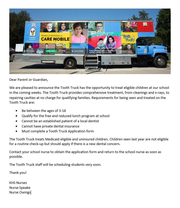 Tooth Truck! Applications are due by Friday, February 1st!