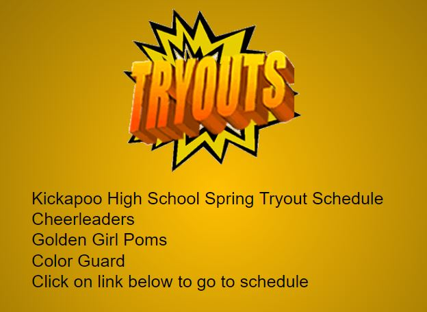 Cheer, Golden Girl Poms and Color Guard Spring Tryout Schedule for 2019-2020 School Year