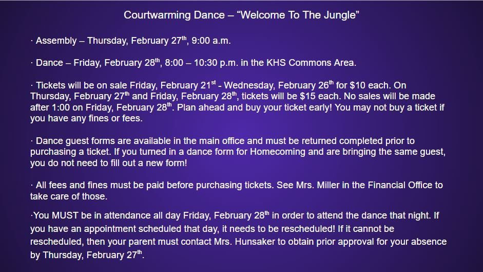 Courtwarming Dance, Friday, February 28