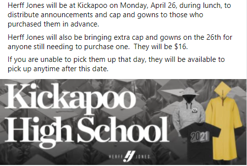 Seniors!! Cap/Gown and Announcements Pick Up Day