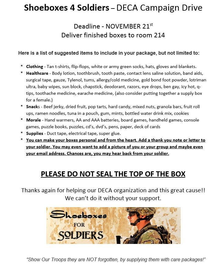 Shoebox 4 Soldiers Drive! Help support our troops!