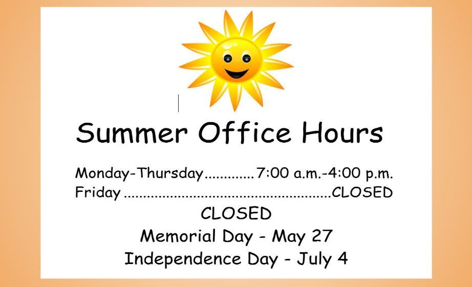 KHS Summer Office Hours      Effective May 27 - July 19