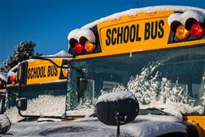 school bus with snow