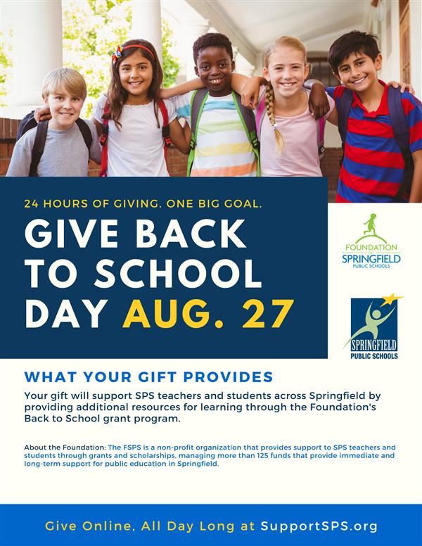 Give Back to School Day: Click the link to give: www.supportSPS.org/donate