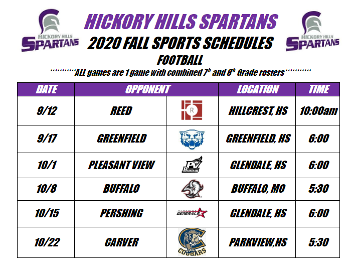 Hickory Hills 2020 Fall Sports Schedules
