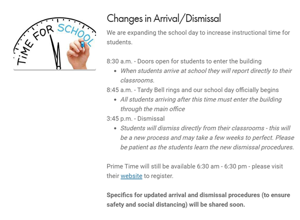 Changes in Arrival/Dismissal Times