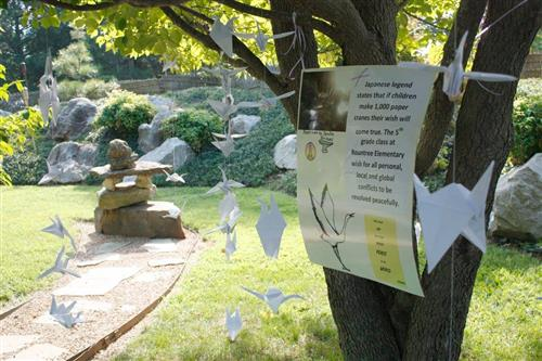 Rountree paper cranes dangling from tree