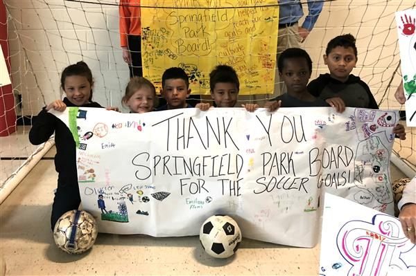 Weller Elementary receives new soccer goals, thanks to Park Board