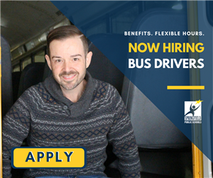 Now Hiring: Bus Drivers (Flexible Hours. Benefits)