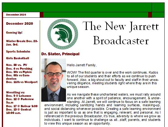 New Jarrett Broadcaster, Fall 2020