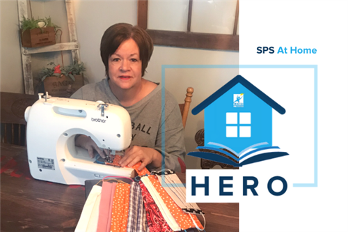 SPS At Home Hero: Secretary Stacy Huett makes face coverings for IT technicians