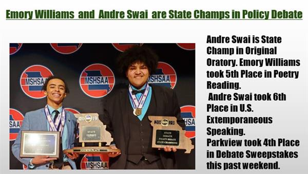 Emory Williams  and  Andre Swai  are State Champs in Policy Debate