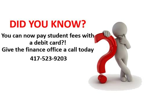 Pay student fees with a debit card!