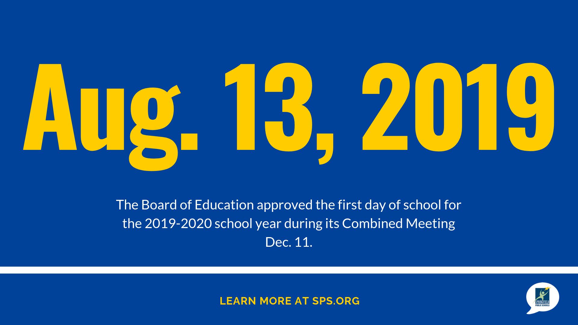 Board Approves 2019 2020 School Year Calendar